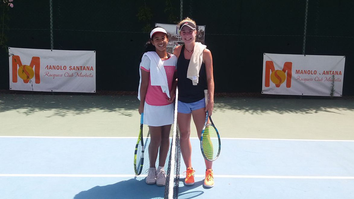 A picture of Jeannie Barcia at the Manolo Santana Raquets Club Marbella